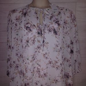 Lavender Rose and Olive Blouse